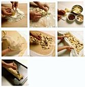 Baking strudel di mele (apple strudel), Italy