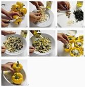 Preparing peperoni ripieni (stuffed peppers)
