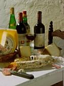 Wine, cheese and salami, Sardinia, Italy
