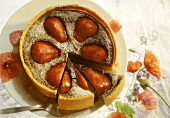 Poppy seed tart with pears