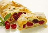 Strudel with cherries and almond quark