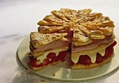 Strawberry almond gateau