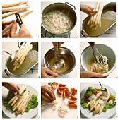 Spargelplatte mit Kräutersahne zubereiten
