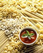 Pasta still life with tomato sauce
