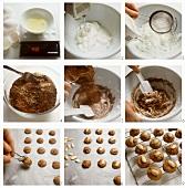 Baking chocolate almond macaroons