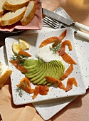 Smoked Salmon with Avocado Fan