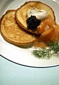 Buckwheat Pancakes with Salmon and Caviar