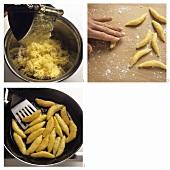 Making finger noodles (potato noodles)