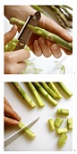 Peeling green asparagus spears and cutting off the ends