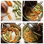 Slicing and sweating leeks and carrots