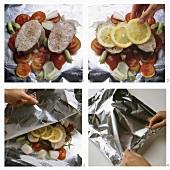 Preparing cod steaks cooked in foil