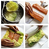 Preparing salmon fillet wrapped in savoy cabbage leaves