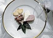 Fruit Cream Heart Dessert with Fresh Raspberries