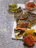 T-bone Steak with Grilled Bell Pepper