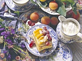 Apricot slices with raspberries