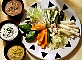 Raw Vegetables with Three Dips