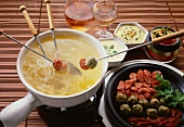 Onion Fondue with Sausage & Meat