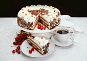 Black Forest cherry gateau and cup of coffee