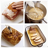 Preparing roast pork