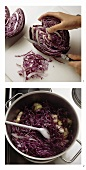 Preparing red cabbage with apples
