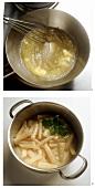 Preparing scorzonera with lemon sauce