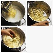 Preparing mashed potato with cress