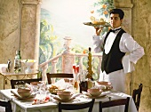 Waiter is serving Aperitif