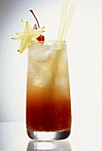 Tall Drink With Champagne, Star Fruit, & Cherry
