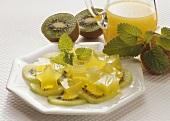 Kiwi Jelly on fresh Fruits