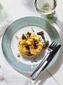 Gratins & scrambled Egg with Morels