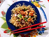Asian noodles with honey and vegetables