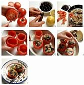 Preparing pomodori alla siciliana