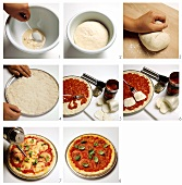 Preparing pizza Margherita