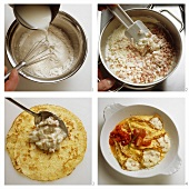 Omelette gratin with cheese filling