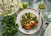 Shrimps on green asparagus