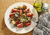 Tomato Mushroom Salad with Croutons