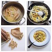 Making Löffelerbsen (a type of pea soup)
