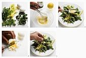 Making dandelion and watercress salad