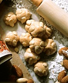 Marzipan balls with almonds