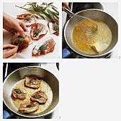 Preparing saltimbocca