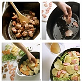 Preparing Pichelsteiner Eintopf (meat stew)