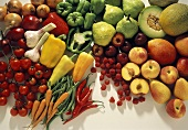 Colorful Still Life of Fresh Fruit and Vegetables