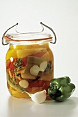 Pickled Vegetables in a Canning Jar