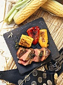 Beef Sirloin with grilled Corn and Bell Peppers