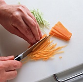 Cutting vegetables into julienne strips