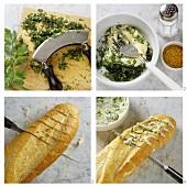 Preparing herb baguette