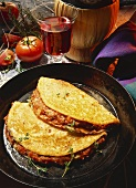 Crespelle alla bolognese (pancakes with mince filling)