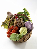 Woven Basket with Handle; Vegetable Still Life