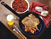 T-Bone Steak with Baked Beans