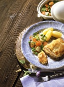 Cordon bleu (veal escalope) with spring vegetables